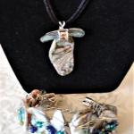 Abalone and Glass Pendant and Bracelet by Sandy Morgan