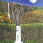 """Moonlit Falls"" (oil) by John Peck"
